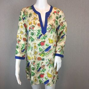 J Crew Poplin Tunic Size Small Printed Hawaiian